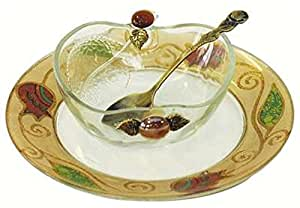 """L'Shanah Tovah Happy&Healthy Honey Dish With Small Plate Apple Design - Pomegranate - Tray 7"""" D - Bowl - 2"""" H"""