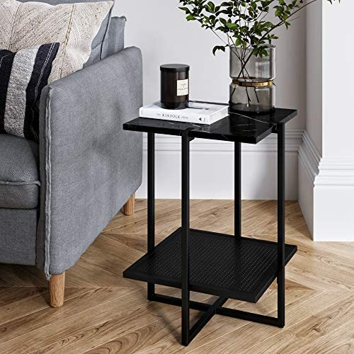 Nathan James Myles Modern Nightstand Marble Side Table Metal Frame, Black