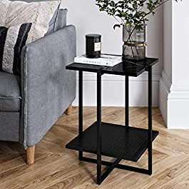 Nathan James Modern Industrial Coffee Table Wood and Metal Box Frame