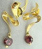 14K Gold Wavy Rhodolite Genuine Natural Garnet Earrings (#2124)