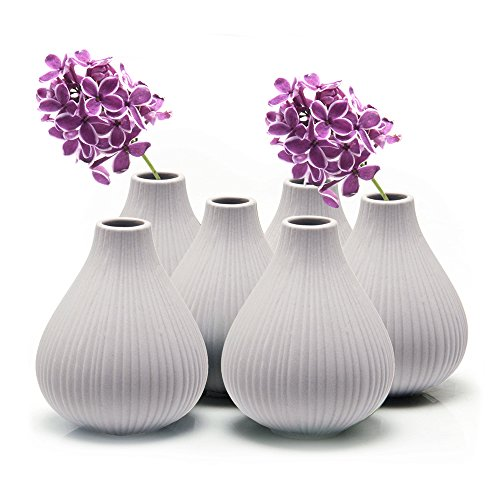 "Chive - Set of 6 Frost, 3"" Wide 3.5"" Tall Round Clay Pottery Flower Vase, Decorative Vase for Home Decor Living Room Office and Place Settings - Bulk (Light Grey) from Chive"
