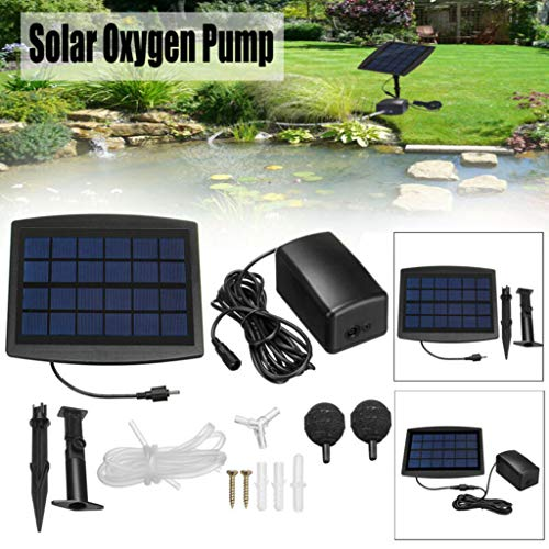 (Solar Air Pump for Fish Pond, Aquarium Solar Powered Oxygenator Pond Water Oxygen Pump with 2 Air Bubble Stone, Oxygenator Aerator for Garden Fish Tank (Black))