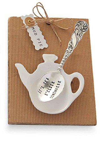 Mud Pie It's Tea O'clock Tea Pot and Spoon, Silver (Spoon Tea Rest)