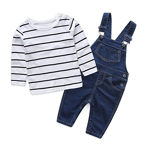 Top and Top Casual Baby Boys Cotton Striped Shirts Tops+Denim Bib Pants Overalls 2Pcs Set Outfit Clothes (70/0-6 Months) - Striped Bib Overalls