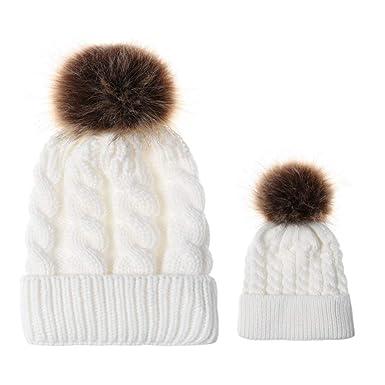 b66f476f6617 Rameng- 2Pcs Bonnet Parent Enfant Bonnet Maman Bébe Pompon Tricoté Chapeau  Chaud (Blanc)