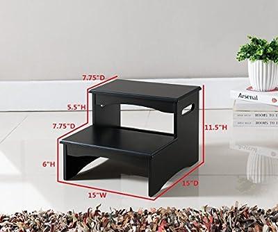 Kings Brand Furniture Black Finish Wood Bedroom Step Stool