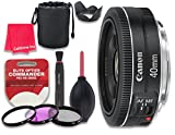 Canon EF 40mm f/2.8 STM Lens for Canon DSLR Cameras - International Version (No Warranty) + 3pc Filter Kit (UV, FLD, CPL) + 3pc Accessory Kit w/ Celltime Cleaning Cloth