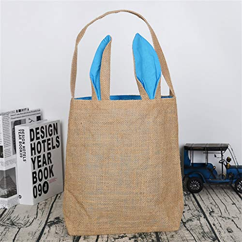 Sunyastor Easter Bunny Bag for Egg Hunts. Easter Basket Tote Handbag, Dual Layer Bunny Ears Design with Jute Cloth Material, Excellent for Carrying Eggs Gifts to Easter Party]()