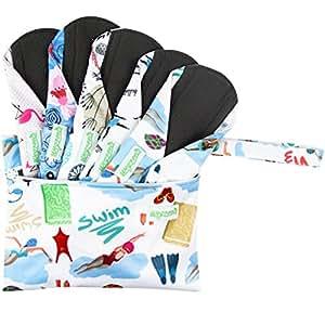 WegreecoBambooReusableSanitaryPads(NewPattern)-ClothSanitaryPads,ClothPads,ReusableMenstrualPads-5PackPads,1Cloth Mini Wet BagBonus (Medium,Dynamic)