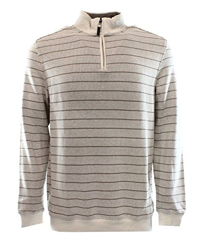 Tasso Elba Mens French Rib 1/4 Zip Mock Turtleneck Sweater Taupe L