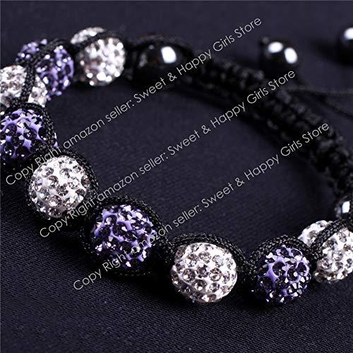 GEM-inside Clear Violet 2 Colors Pave Shine Crystal Beads Hand-Woven Bracelet Adjustable