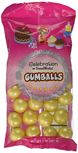 Sweetworks Celebration Candy Gumballs Bag, 8 oz, Shimmer Yellow]()
