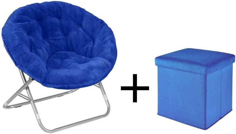Mainstay.. Faux Fur Saucer Chair (Royal Spice with Ottoman