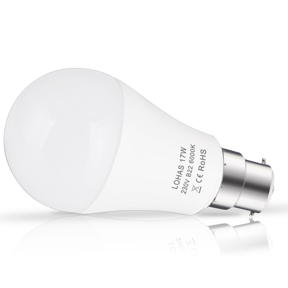 17W LED Bayonet Light 4 Pack Day White 6000K Energy Saving Light Bulbs Non-Dimmable Super Bright 1600Lm LOHAS B22 LED Bulbs 150W Equivalent