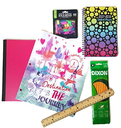 Back to School Supplies for Teen Girls Includes Notebook, Student Planner, Pocket Folder, Wooden Ruler, Pencils and Pencil Erasers, Bundle of 6