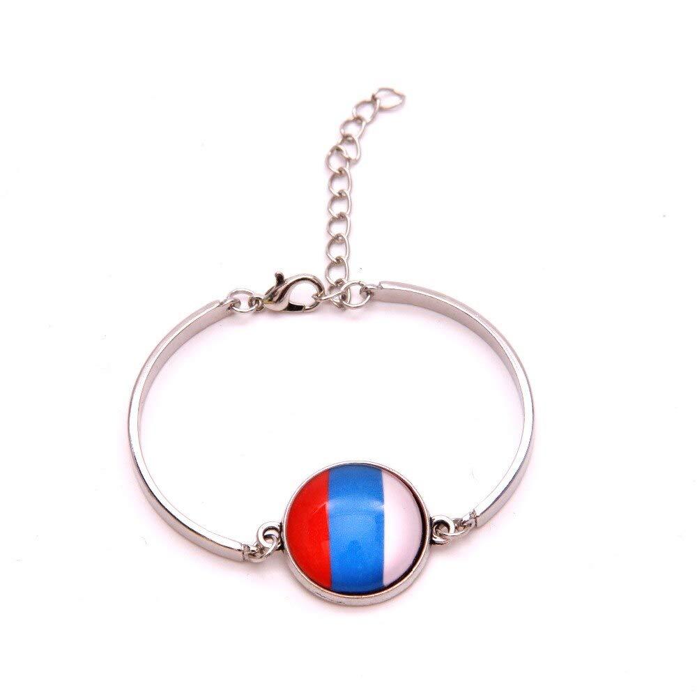 ALISETHEL Good Luck Bracelet (10pcs/lot) Infinity Love National Flag Russia Good Luck Bracelet Heart Charm Leather Braided Bracelet & Bangles Jewelry