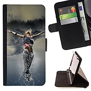 For Samsung ALPHA G850 Dance Woman Street Style Outfit Fashion Art Style PU Leather Case Wallet Flip Stand Flap Closure Cover
