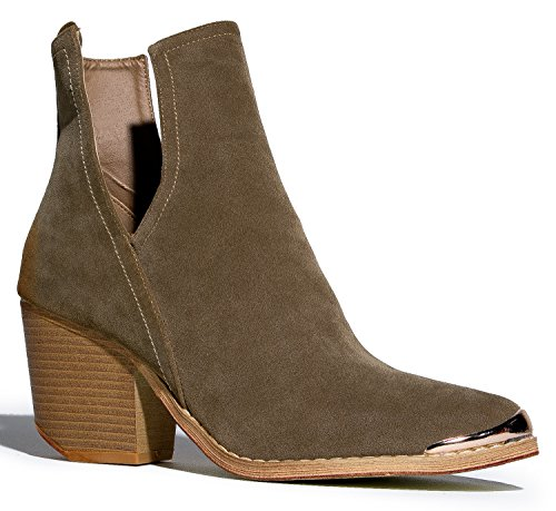 Western Slip On V-Cut Out Stacked Heel Bootie - Side Cut Metal Tipped Ankle Pull Cowboy Women's Boot