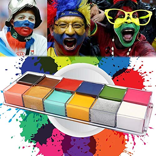 Face Paint Kit Flash Tattoo Face Palette Body Paint Make Up Oil Painting Art Halloween Party Fancy Waterproof Beauty Makeup Brush Eyeshadow Kit ()
