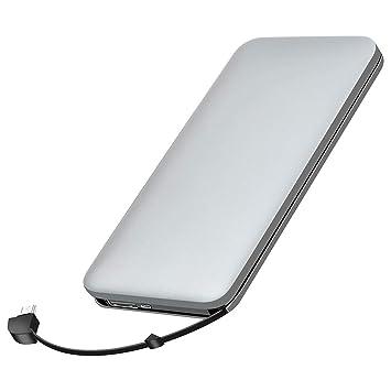 elzle Cargador portátil, Banco de energía de 10000mAh con Cable USB telescópico Incorporado y Adaptador iOS Batería portátil (Gris)