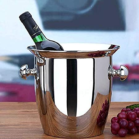 YXZN 5L Barra De Cubos De Hielo De Acero Inoxidable KTV Vino Cerveza Champagne Whisky Botella Enfriadora Cubos De Hielo Contenedor De Cubos con Asa Lateral Redonda