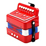 Dovewill Kids Accordion Musical Instrument Seven Button Playing Christmas Gifts Red