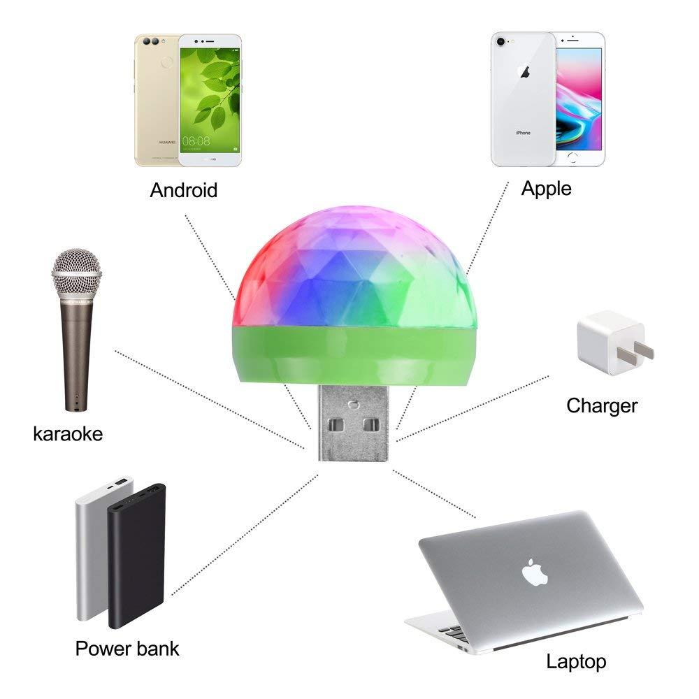 Mini boule disco led usb - Lumière DJ portable pour faire la fête - Maison, voiture, téléphone, et tout autres type d\'appareil USB - Inclus tous les adaptateurs (Android, IOS Apple, Type C)