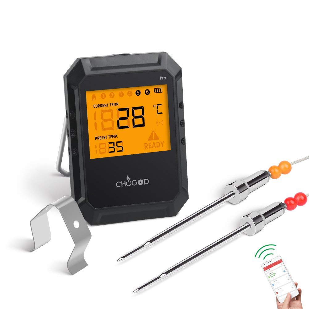 WEINAS 6 Probes Food Thermometer - Digital Wireless Bluetooth Smart Easy BBQ App for iOS and Android Phone for Kitchen Cooking, Smoker, Grill, Oven, Barbecue, Meat Thermometer [2 Probes Included]