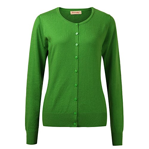 Panreddy Women's Wool Cashmere Classic Cardigan Sweater Green L