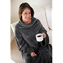 Napa Lounging Soft Fleece Adult Wearable Blanket Throw with Sleeves for Women and Men, Grey