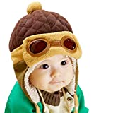 PanDaDa Baby Boys Hats Winter Warm Cap Hat Beanie Pilot Aviator Crochet Earflap Coffee Medium