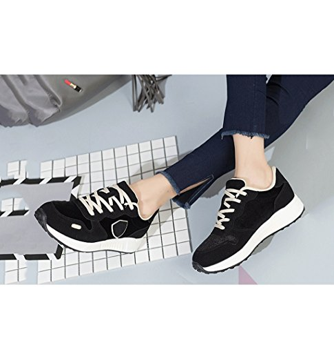 Women 's Flat - bottomed Sports Shoes Fashion Simple Lace Running Shoes Students Leisure Breathable Skateboard Shoes (Color : Black, Size : 39)