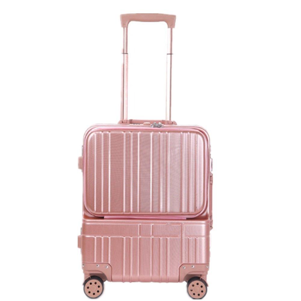 荷物ケース, スーツケース, 近距離小型ボックスアルミフレームコンピュータトロリーボックスフロントコンピュータバッグ18インチ絶妙なスーツケースビジネスパスワードボックス 荷物エアボックススーツケース (色 : ピンク) B07TWDFC4R ピンク