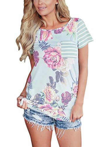 [해외]AlvaQ 여성 여름 꽃 무늬와 스트라이프 블라우스 탑스 (S-XXL, 8 색)/AlvaQ Women Summer Floral and Striped Blouses Tops (S-XXL,8 Colors)