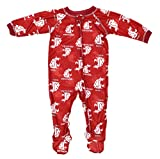 Outerstuff Washington State Cougars NCAA Baby Boys Raglan Zip-up Coverall Sleeper, Red