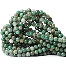 """Qiwan 60PCS 6mm Natural African Jade Round Loose Stone Beads for Bracelet Necklace Earrings Jewelry Making Crafts Design Healing 1 Strand 15"""""""