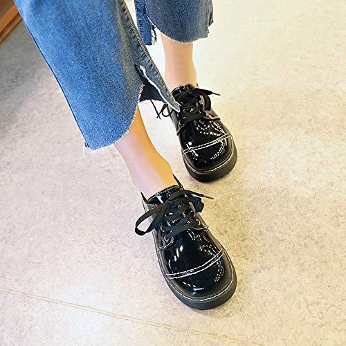 Noël Hiver 2019 Cuir Dégagement Chaussures Vintage Mounter England Femme Black Women tqz8wn7x