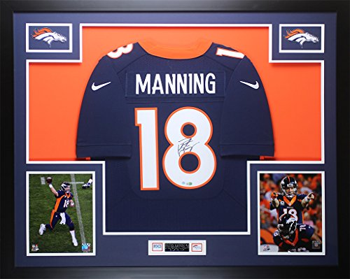 Peyton Manning Hand Signed - Peyton Manning Autographed Navy Broncos Jersey - Beautifully Matted and Framed - Hand Signed By Peyton Manning and Certified Authentic by Steiner COA - Includes Certificate of Authenticity