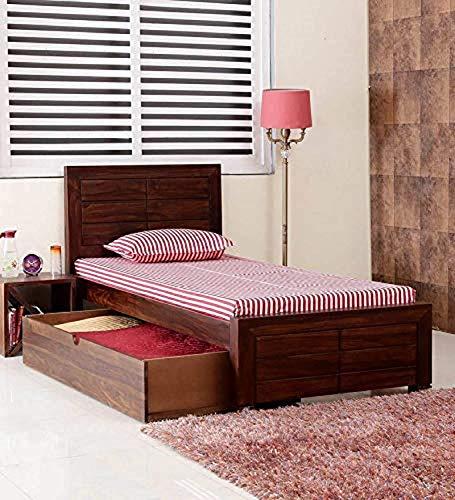 DEMIWALL Single Solid Wood;Sheesham Bed With Storage     Provincial Teak