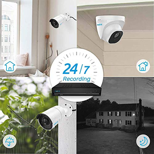 Reolink 8CH 5MP PoE Home Security Camera System, 4pcs Wired 5MP Outdoor PoE IP Cameras, 8MP/4K 8-Channel NVR with 2TB HDD for 24/7 Recording