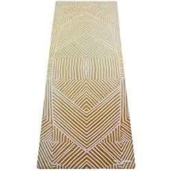YOGA DESIGN LAB | The Travel Yoga Mat | 2-in-1 Mat+Towel | Lightweight, Foldable, Eco Luxury | Ideal for Hot Yoga, Bikram, Pilates, Barre, Sweat | 1mm Thick | Includes Carrying Strap! (Optical Gold)