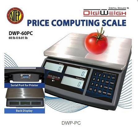 Digiweigh DWP-60PC Price Computing Scale 60 lb x 0.01 lb, NTEP, Legal For Trade,NEW by DigiWeigh