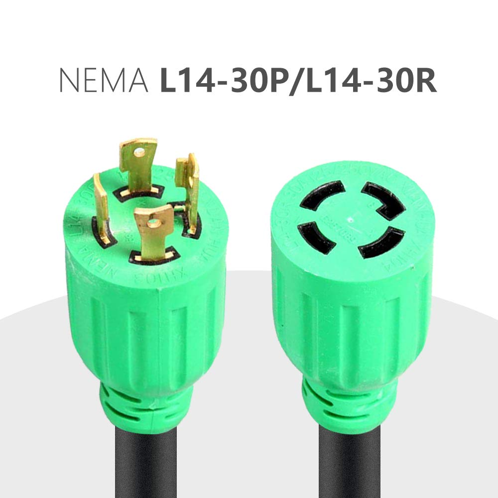 Atima Nema L14 30 Generator Extension Power Cord Cable Wiring A L1430p Plug Transfer Switch Agc102 20 Feet 4 Wire 10 Gauge 30a 125 250 V Prong Garden Outdoor