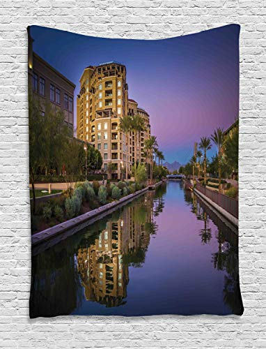 Ambesonne Arizona Tapestry, Photo of Az Canal in Scottsdale at Sunset with Downtown Architecture, Wall Hanging for Bedroom Living Room Dorm, 60