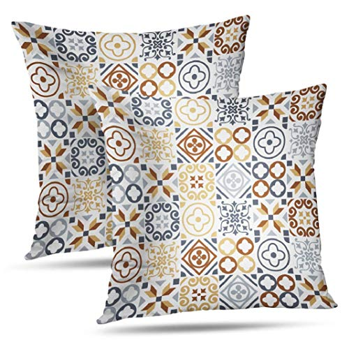 WAYATO Set of 2 Pillow Case Cotton Polyester Blend Throw Pillow Covers Slate Blue Brown Sari Mosaic Art Bed Home Decor Cushion Cover 18X18 -