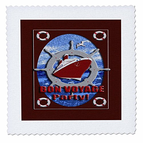 3dRose qs_40407_3 Bon Voyage Party, Cruise Ship Quilt Square, 8 by 8