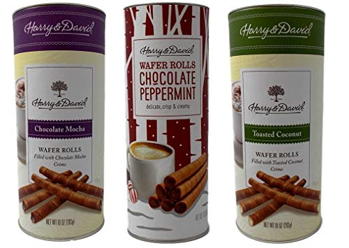- Harry & David Wafer Rolls Cookie Rolls 3 Flavor Variety Gift Bundle, (1) each: Chocolate Mocha, Chocolate Peppermint, Toasted Coconut (7-10 Ounces)