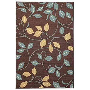 Anti-Bacterial Rubber Back DOORMAT Non-Skid/Slip Rug 18 x31  Brown Floral Colorful Interior Entrance Decorative Low Profile Modern Indoor Front Inside Kitchen Thin Floor Runner DOOR MATS for Home