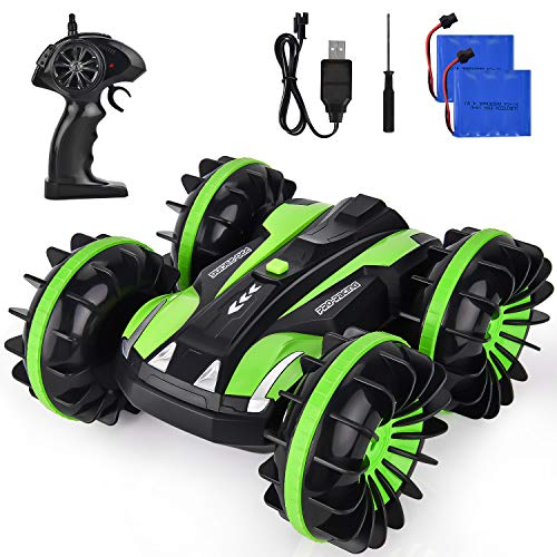 ROOYA BABY Remote Control Car Boat RC Truck Amphibious Stunt Car 4WD Off Road 2.4GHz Radio Controlled Vehicle Waterproof Double Side Race 360 Degree Rotates Green (Best Remote Control Car 5 Year Old)