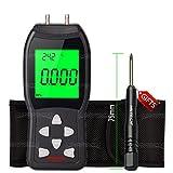 NKTECH NK-L3 LCD Digital Manometer Differential Air Pressure Meter Gauge kPa ±3Psi Temperature Measuring -40 to 80 Degree Celsius 12 selectable Units of Measurement Backlit (Black)